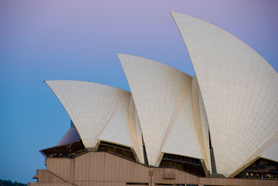 The sun going down at the Opera House